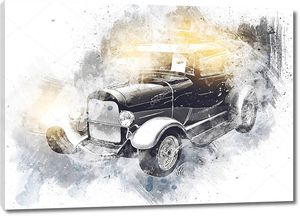старый классический автомобиль ретро-винтажный рисунок
