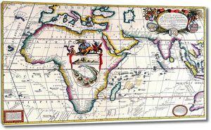 Старинная карта с яркими элементами