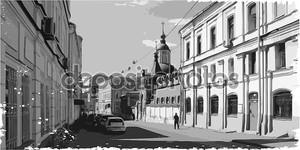 черно-белая иллюстрация городского ствола колонны