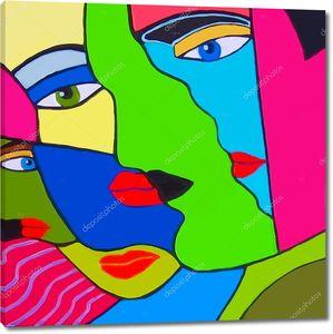 Оригинальная абстрактная картина с лицами