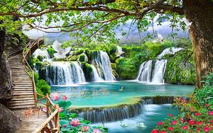 Олени на мостках у водопада