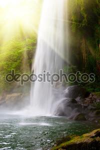 Водопад в джунглях с солнцем