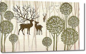 Мама с олененком с круглыми деревьями