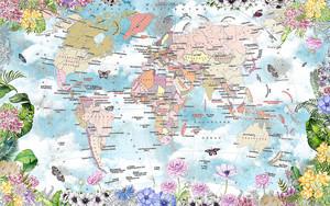 Карта мира в цветочной рамке