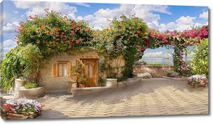 Милая улочка с цветами и маленьким домом