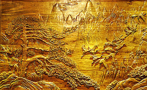 Восточный пейзаж на древесине