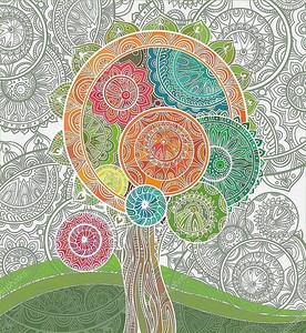 Абстрактные декоративных волшебное дерево с большим количеством деталей