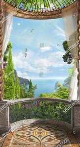 Полукруглая терраса с видом на море