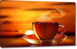 Чашка чая на закате