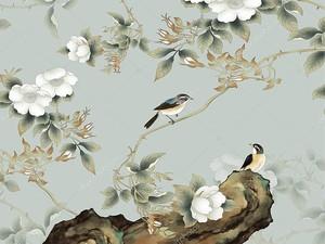 Мелкие белые цветы с птицами