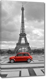 Эйфелева башня с автомобилем. Фото черно-белые с красным элементом.