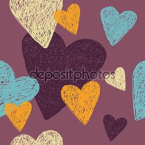 Линейный рисунок с красочных сердец