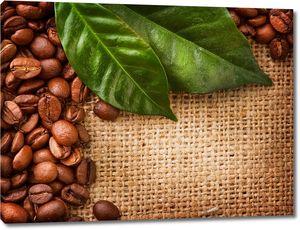 Листья и кофейные зерна