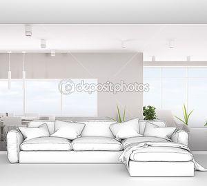Современный интерьер белой Апартаменты Панорама 3d визуализации