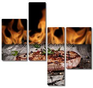 стейки на огне