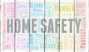 Home Safety word cloud. Word cloud made with text only.