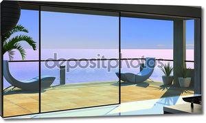 Современный интерьер, вид из окна