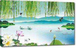 Ласточки над озером с лотосами