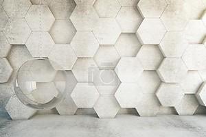 Мыльный пузырь на фоне стены из шестиугольников