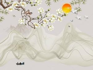 Солнце сквозь цветущую ветвь над горным озером