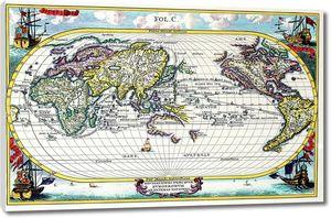 Старая карта с яркими элементами