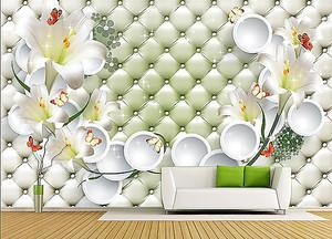 Стена с лилиями в интерьере