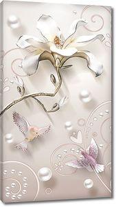Изящная лилия с жемчужинами