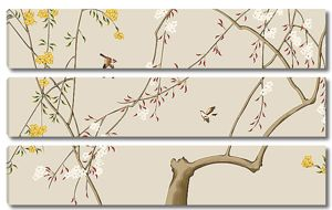 Ветки цветущие с птицами