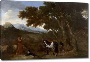 Дюге Гаспар. Пейзаж с отшельником, проповедующим животным
