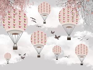 Птицы вместе с воздушными шарами