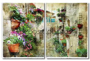 Цветочные улицы в Спелло, Умбрия-Италия
