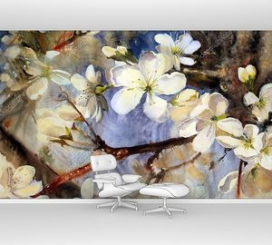 Акварельная живопись цветущих ветвей весенних деревьев