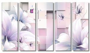Лилии на фоне кубов