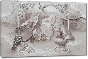 Удод и орхидеи