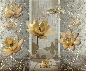 Лотосы и бабочки в золоте