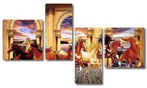 Лошади бегут на фоне арок