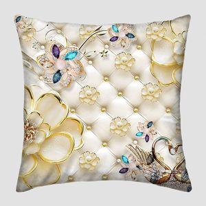 Позолоченные цветы, кристаллы и  два металлических лебедя