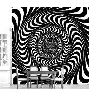 черно-белые вихрем линий. оптическая иллюзия фон, вектор