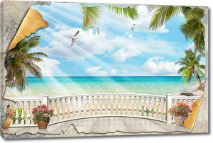 Композиция из старой стены и террасы с видом на море