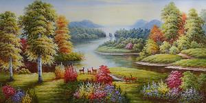 Олени на берегу широкой реки