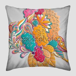 Mehndi 3d imitation design. Paisley, winding stem, spiral, lorus flower, wave, bud mehndi doodle. Colorful photorealistic design, tracery handmade. Curved lines, doodling design.