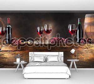 Натюрморт с красным вином и бочками