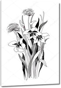 Руки drawn черно-белые цветы