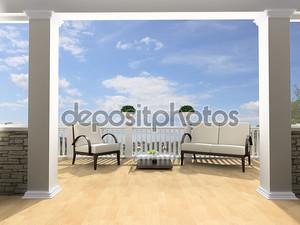 открытая терраса с белой мебелью
