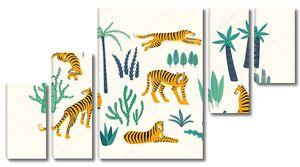 Орнамент из тигров и тропических листьев