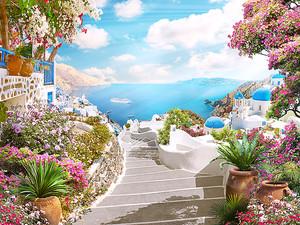 Лестница, ведущая к морю в Санторини