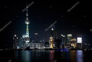 Скайлайн Шанхай ночью
