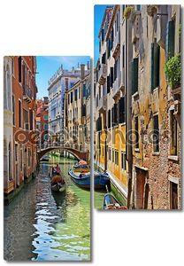 Венеция Гранд-канал с гондолами, Италия в яркий летний день