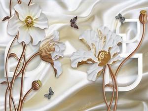 Шелковый фон, белые цветы на коричневых стеблях