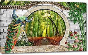 Павлины у арки с видом на бамбук